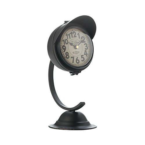 Galapagoz Vintage Black Standing Desktop Small Metal Rustic Desk Clock Features Bell Shaped Base Stunning Accent