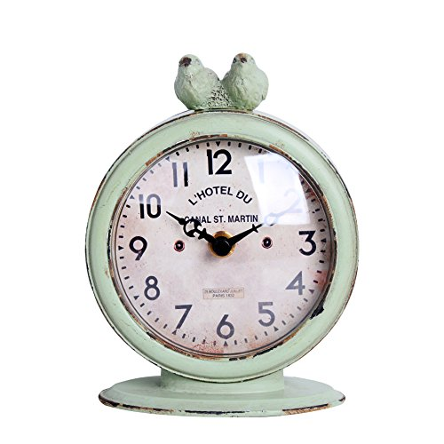NIKKY HOME Shabby Chic Pewter Round Quartz Table Clock with 2 Birds, 4.75″ x 2.5″ x 6.12″, Light Green