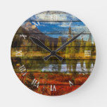 Forest Lake Mountains Autumn Colors Watercolor Round Clock