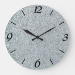 Galvanized metal look large clock