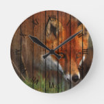 Hunting Red Fox Oil Painting Art On Wood Round Clock