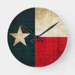 Lone Star Flag of Texas Grunge Rustic Patriotic Round Clock