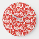 Red Scandinavian Christmas / Winter Birds Pattern Large Clock