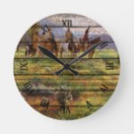 Rustic Watercolor Cowboys On Horses Art Painting Round Clock