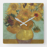 Vincent Van Gogh – Sunflowers, 1889 Square Wall Clock