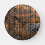 Whitetail Deer In Field Winter Season Sunset Round Clock