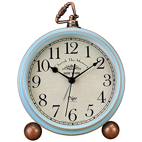 Justup Table Clock, Vintage Non-Ticking Table Desk Alarm Clock Battery Operated Quartz Movement HD Glass Bedroom Living Room Kids (Arabic)