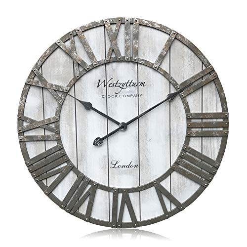 Westzytturm Large Rustic Wood Wall Clocks Battery Operated Non Ticking Quartz Movement Silent Exact Time Easy to Read Classic Art Antique Home Decor for Living Room Office Mantel (Grey, 24 inches)