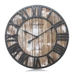 Westzytturm Large Rustic Wood Wall Clocks Battery Operated Non Ticking Quartz Movement Silent Exact Time Easy to Read Classic Art Antique Home Decor for Living Room Office Mantel (Pink, 24 inches)