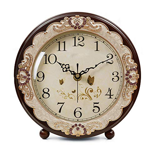 Justup Vintage WoodenTable Clock, Retro Non-Ticking European Style Beside Mantle Desk Clock Battery Operated Silent Quartz Movement for Bedroom Living Room Indoor Decor (Brown)