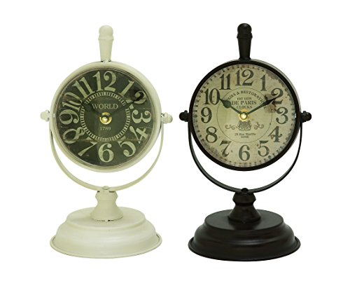 Deco 79 92253 Metal Table Clock, 6″ x 11″