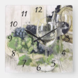 Elegant Wine Glasses, Purple and Green Grapes Square Wall Clock