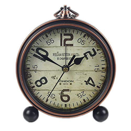 Justup Retro Table Clock, Non-Ticking Beside Table Desk Alarm Clock Vintage European Style Desk Shelf Mantle Clock Silent Metal Battery Operated for Kids Bedroom Living Room (A)