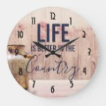 Life is Better in the Country Quote with Milk Can Large Clock