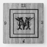 Monogram Rustic Grey Wood look Distressed Square Wall Clock
