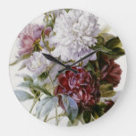 Pierre Joseph Redoute – A Bouquet Of Red Peonies Large Clock