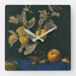 Willem Van Aelst – Still Life With Fruit Square Wall Clock