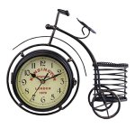 Berry President(R) Generic Vintage Metal Rustic Bicycle Clock Bike Shaped Double Side Table Decorative Clock for Home Decor with Basket