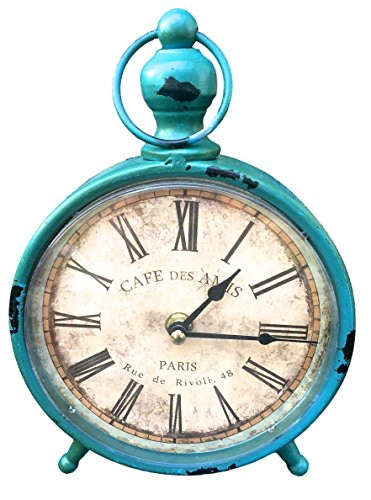 Decorative Clock, Over-Sized Table and Desk 9″ x 6″, Vintage Distressed Metal For Antique, French Country, Shabby Chic and Farmhouse Decor