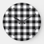 Cool White Black Lumberjack Tartan Squares Pattern Large Clock