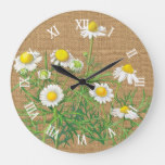 Cute Fun Vintage Camomile Flowers Faux Jute Burlap Large Clock
