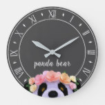 Rustic Boho Panda Bear Wall Clock