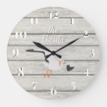 Rustic White Painted Board Coastal Seagull Large Clock