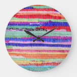 textile leftovers handmade pattern stripes colorfu large clock
