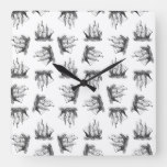 Vintage Ships Ocean Themed Art Pattern Retro Style Square Wall Clock