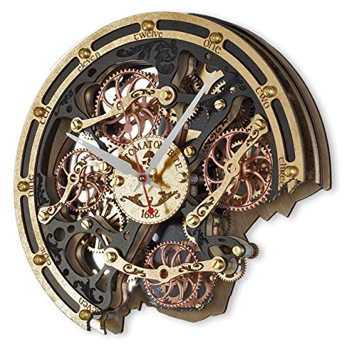 Automaton Bite Wall Clock Black Gold | Handcrafted Clocks with Steampunk, Rustic Design and Mechanical Gears | Wooden Home Decor for Kitchen, Living Room and Office | Personalized Decorative Art