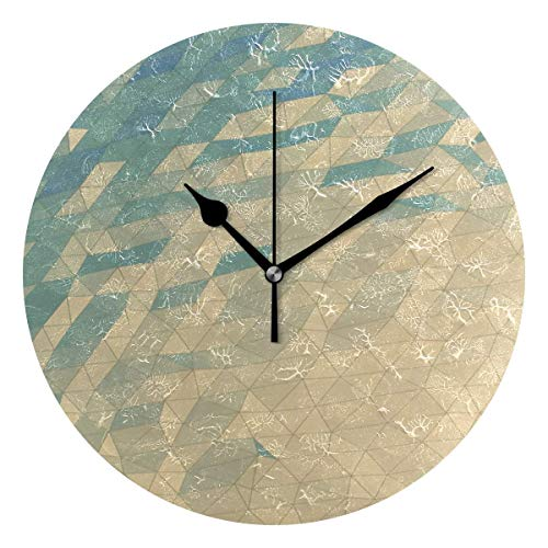 Dozili Geometric Wallpaper Round Wall Clock Arabic Numerals Design Non Ticking Wall Clock Large for Bedrooms,Living Room,Bathroom