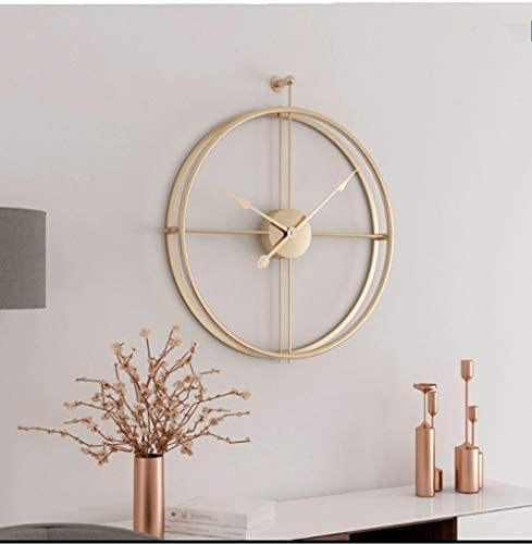 Univer-Co Modern 3D Wall Clocks Battery Operated Decorative 20″x24″ Round Iron Metal Clock for Living Room, Bedroom, Office (Golden)