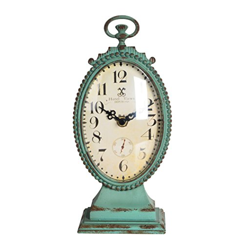 NIKKY HOME Shabby Chic Pewter Round Table Clock Distressed Style, Green