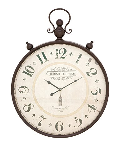 Deco 79 92259 Rustic Cherish the Time Round Analog Metal Wall Clock, 31″ x 23″