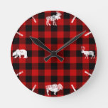 Cabin Buffalo Plaid Lumberjack Check Pattern Red Round Clock