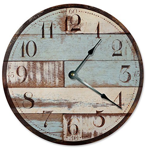 Large 10.5″ Wall Clock Decorative Round Wall Clock Home Decor Novelty Clock RUSTIC WOOD