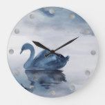 Misty Reflections Decor | Moody Dusty Blue Swan Large Clock