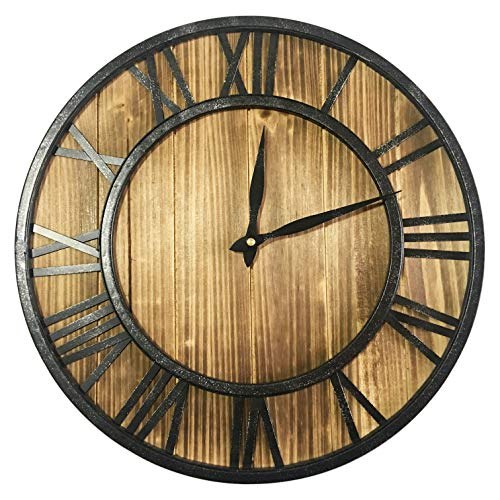 Yesee Rustic Wooden Wall Clock Silent Metal & Wood Battery Operated Wall Clock Non-Ticking Large Decorative Wall Clock with Roman Numerals (16 inch, Metal&Wood 1)