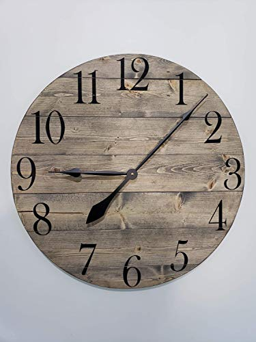 Georgia Barnard Gray Stained Wood Clock Number Clock Farmhouse Clock Housewarming Decorative Clock Wall Clock Wood Clock Rustic Clock Gray 12″ Wood Clock