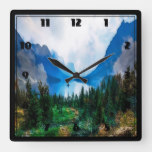 Rustic Country Mountains Scenic Nature Square Wall Clock