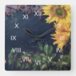Rustic Country Sunflowers and Slate Roman Numerals Square Wall Clock