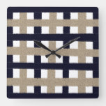 Rustic Navy / Beige / White Stripes Square Wall Clock