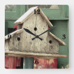 Rustic Wooden Birdhouse Green Square Wall Clock