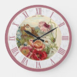Vintage Country Cottage Scene Dusty Pink Floral Large Clock