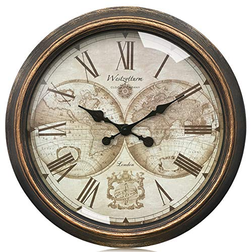 Westzytturm Basic Wall Clock Vintage 30 inch Huge Round World Face Metal Hands Plate Gold Retro Silent Non Ticking Battery Operated Rustic Giant Big Clocks Home Decor Art Living Room Office Mantel