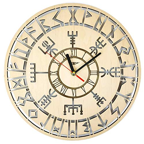 ShareArt Vikings Vegvisir Silent Wood Wall Clock – Original Home Office Living Room Bedroom Kitchen Decor – Best Birthday Gift for Friends Men Woman – Unique Wall Art Design – Size 12 Inch