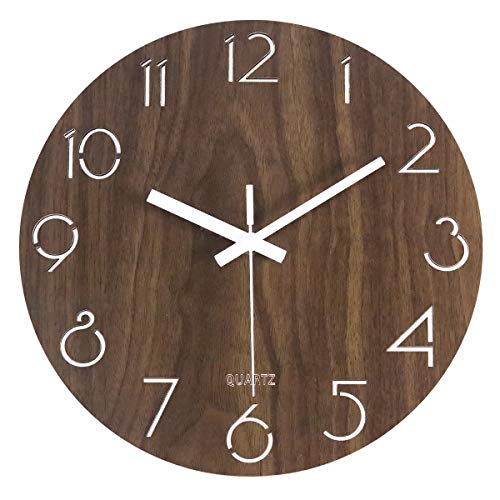 MixArt 12″ Vintage Arabic Numeral Design Rustic Country Tuscan Style Wooden Decorative Round Wall Clock Silent Non-Ticking Battery Operated Indoor Clock