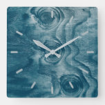 Cool Painted Wood Grain Knot Texture Square Wall Clock