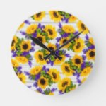 Country Rustic White Wood Purple Yellow Sunflower Round Clock