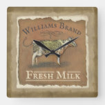 Rustic Cow Family Monogrammed Name fresh Milk Square Wall Clock